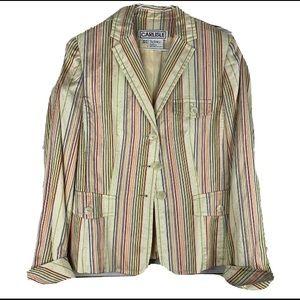 Carlisle Silk Blazer Striped Size 6 Long Sleeve